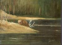Original Landscape Oil Painting Buck Deer Elk Signed Framed