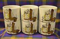 Set of 6 Vintage Handleless Ceramic Mugs- Owl Design-?Japan