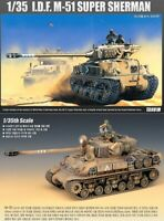 Academy 1/35  I.D.F M-51 Super Sherman Armor Tank Toys Kits Military Hobby 13254