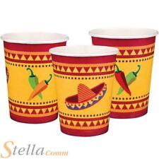 Set de 6 Fiesta Vasos de papel Mexicano Bebidas Fiesta De Disfraces Vajilla