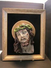 Antique Chalkware JESUS Crown of Thorns Wall Plaque Framed 3D Wall Glass eyes