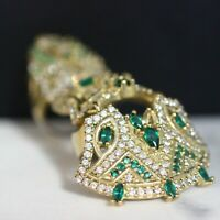 925 Sterling Silver Handmade Authentic Turkish Emerald Ladies Ring Size 9