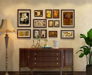 13 Pieces Gallery Wall Solid Wood Photo Frames Set Vintage Style Mother's Day