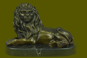 Signed Milo African Lion King of Jungle Bronze Sculpture Hot Cast Figurine Decor