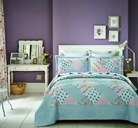 Sky Blue Quilted Bedspread Throw For Superking Bed Size 240 x 260cm and Cases