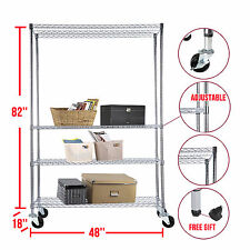 "82""x48""x18"" Chrome 4 Tier Steel Wire Shelving Rack Shelf Heavy Duty Adjustable"