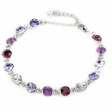 Fashion Rhinestone Purple Amethyst 18K White Gold Plated Tennis Bracelet
