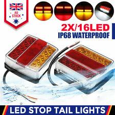 2PC 16 LED Submersible Waterproof Trailer Tail Lights Caravan Truck Boat Kit AU