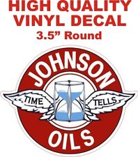 Vintage Style Johnson Oils Gasoline Time Tells Gas Pump Decal - The Best!