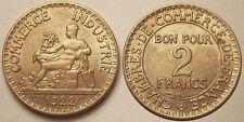 2 Francs Chambre de Commerce 1922, SPL !!