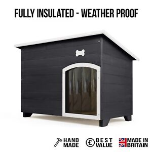 Outdoor Dog Kennel / House Winter Weather Proof Insulated XL Black +Bone