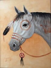 Navajo canvas painting 16x20 WAR HORSE by world renowned Artist Jimmy Yellowhair