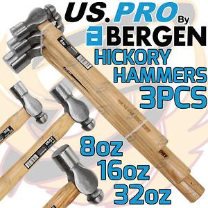 US PRO Ball Pein Hickory Hammer Set 3pc Ball Machinist's Hammers 8oz 16oz 32oz