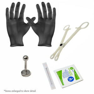 """Lip Labret Piercing Kit 16g 3/8"""" All You Need for Professional Results"""