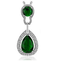 Vintage Style Silver & Emerald Green Teardrop Pendant Necklace N337