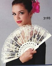 New Creamy White Gold Lace Fan Plastic Base Theatrcial Dance Item