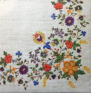 4 x Single Paper Napkins Kashubian Folklore Embroidery for Decoupage Crafting 54