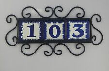3 BLUE Mexican Ceramic Number Tiles & Horizontal Iron Frame