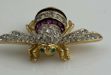 JOAN RIVERS Pink Rose & Clear Crystal BEE PIN BROOCH 1.75 Inch