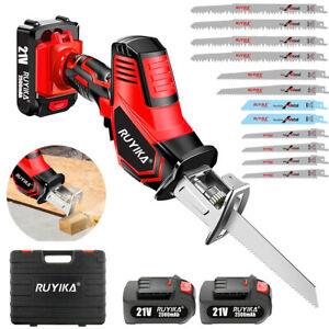 21V Cordless Reciprocating Saw Wood Cutting w/ 2 Li-ion Battery & 12 Saw Blades