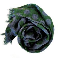 Dots Schal mit Fransen 100% Leinen gewaschen (44x200 cm), Jeansblau-grün