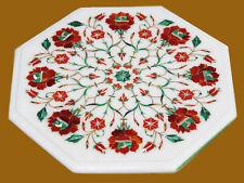 """15"""" Marble Coffee Corner Table Carnelian Semi Precious Stone For Home Decor"""