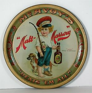 1899 PRE PROHIBITION McAVOY BREWING COMPNAY TIN LITHO ADVERTISING BEER TRAY