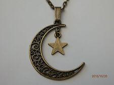Antique Bronze Filigree Crescent Moon & Star Pendant Charm Necklace Chain