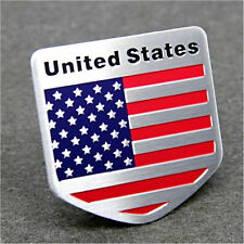Aluminum Alloy Badge 8x5cm Rectangle Emblem Decal Sticker American USA Flag New