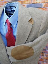 STAFFORD 41L SPORT COAT TAN WOOL FLECK TWEED BLAZER ELBOW PATCHLEATHER  BUTTON