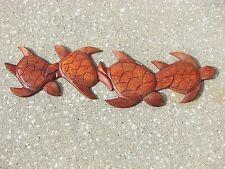Sea Turtle & Friends Natural Teak Wood Hanging Wall Art Plaque Patio Home Decor