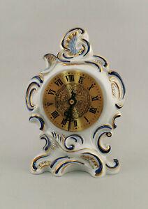 99840681 Porcellana Orologio da Tavolo Cobalto Decorazione Dorata Stile-Rococò