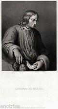Lorenzo de' Medici:Ritratto.il Magnifico.Incisione su Acciaio.Stampa Antica.1860