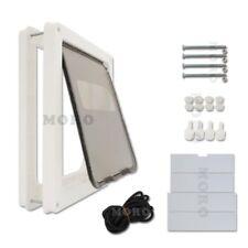 UK White Frame 2 Way Locking Magnetic Pet Cat Brush Dog Flap Door 43*36CM