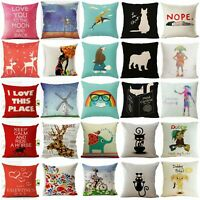 Home Cartoon Print Cotton Linen Pillow Case Cushion Cover Sofa Decor Square Car