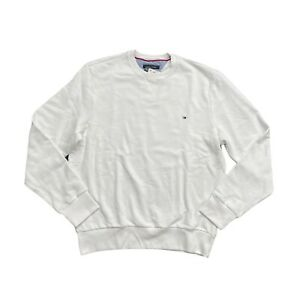 New Men's Tommy Hilfiger White Crewneck Fleece Logo Sweatshirt Sweater Large