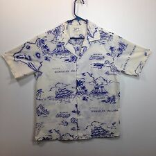Genuine Hawaiian Aloha Shirt - Helena's - M - white and blue Maps Sailing ships