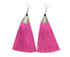Long Funky Tassel Chandelier Silver Dangle Party Earrings - Pierced or Clip On