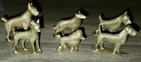 VINTAGE Gold PLASTIC DOG FIGURES WITH BASE AND BREED