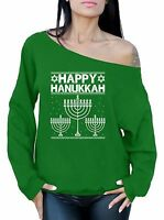 Happy Hanukkah Off the Shoulder Sweater Ugly Christmas Shirts Funny Xmas Gifts