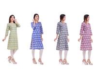 Indian Pakistani Women Straight Floral Rayon Ethnic Kurta Kurti Top Tunic Dress