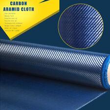 12'' x 39'' Wide Carbon Fiber & Blue Mixed Fabric Twill Aramid Cloth Flim 200gsm