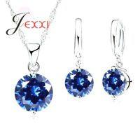 925 Sterling Silver Blue Crystal Cubic Zirconia Necklace Pendant And Earring Set