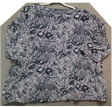 Denim & Co. Women's Black/Off White Boat Neck 3/4 Sleeve Shirt Top Plus Size 3X