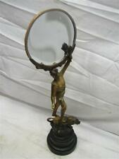 Early Art Nouveau Vanity Shaving Mirror Athlete on Lion Magnifying Torch