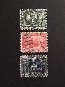 GandG US Stamps #328-30 Jamestown Expo Set Used