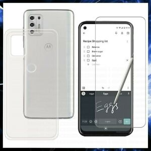 For MOTOROLA MOTO G STYLUS 5G CLEAR CASE + TEMPERED GLASS SCREEN PROTECTOR COVER