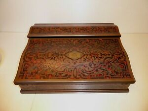 ANTIQUE FRENCH WRITING SLOPE BOULLE MARQUETRY TABLE DESK 19th TORTOISE NAPOLEON