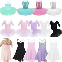 UK Kids Girls Ballet Dance Dress Ballerina Half Sleeve Tutu Skirt Party Costume