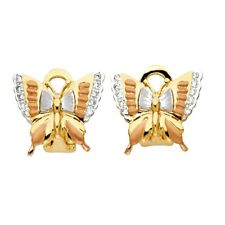 CZ Butterfly Stud Earrings Solid 14k Yellow White Rose Gold Studs Clip-ons Fancy
